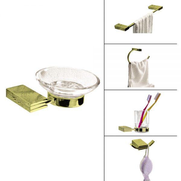 Rectangular Bath Accessories-Gold Finish