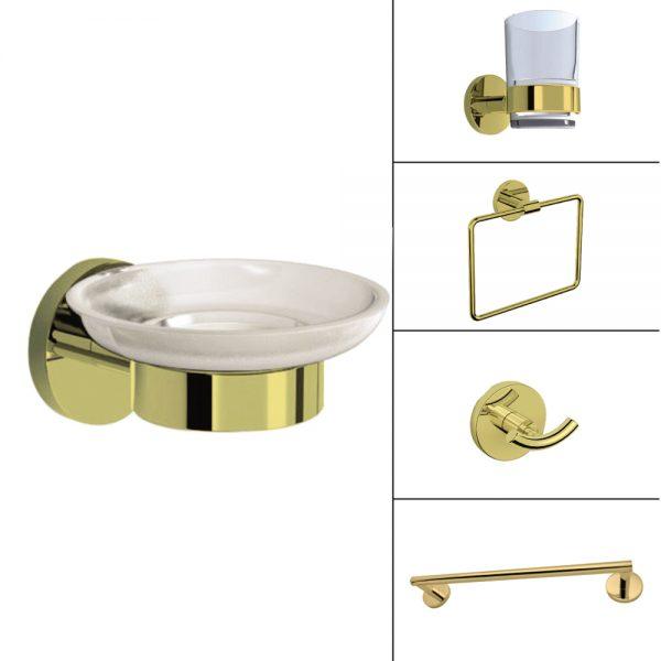 H2O Bath Accessories-Gold Finish