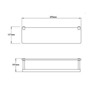 Glass Shelf with Lower Rail-Rectound