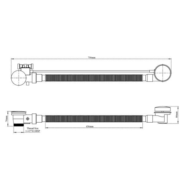 Bathtub Overflow Set with Knob Control (On-Off)